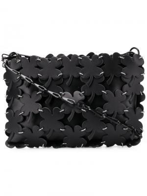 Сумка на плечо с панелями в форме листьев клевера Paco Rabanne. Цвет: черный