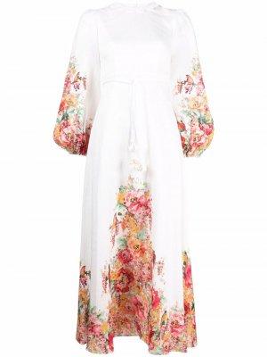 Платье с цветочным принтом Zimmermann. Цвет: белый