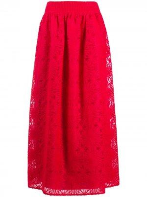 Кружевная юбка макси Alberta Ferretti. Цвет: красный