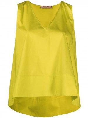 Блузка с V-образным вырезом и драпировкой TWINSET. Цвет: желтый