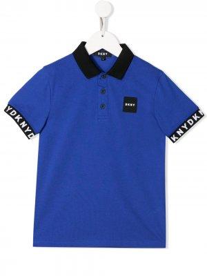 Рубашка-поло с контрастной отделкой Dkny Kids. Цвет: синий