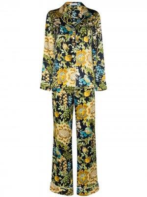 Пижама Lila с цветочным принтом Olivia von Halle. Цвет: синий