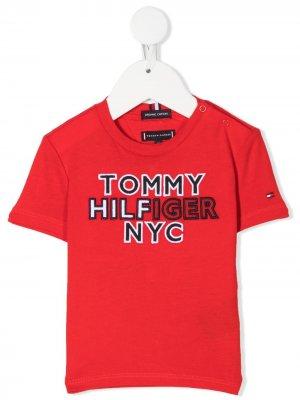Футболка с вышитым логотипом Tommy Hilfiger Junior. Цвет: красный