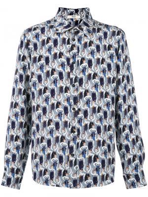 Рубашка с узором из ботинок Bally. Цвет: синий