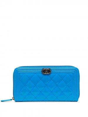 Кошелек с логотипом CC Chanel Pre-Owned. Цвет: синий