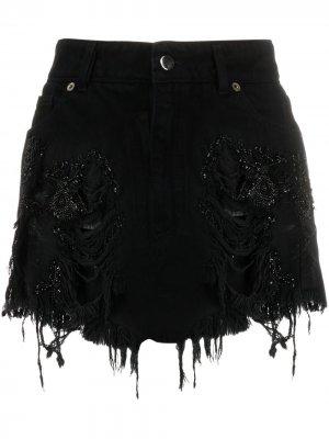 Джинсовая юбка с декором из бисера Almaz. Цвет: черный