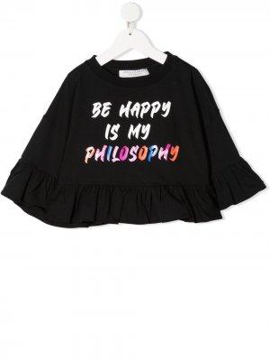 Топ с принтом Be Happy Is My Philosophy Di Lorenzo Serafini Kids. Цвет: черный