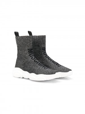 Высокие кроссовки-носки Moschino Kids. Цвет: черный