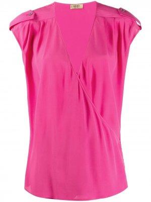 Блузка с запахом и V-образным вырезом LIU JO. Цвет: розовый