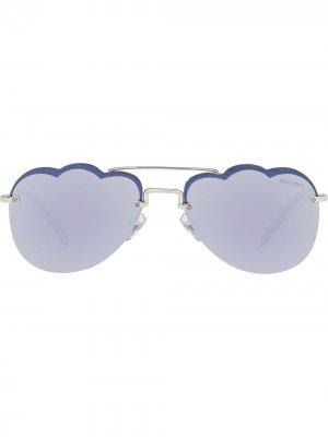 Солнцезащитные очки-авиаторы Cloud Miu Eyewear. Цвет: синий