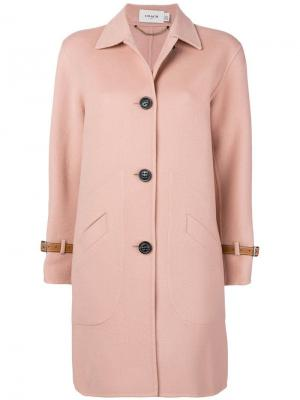 Однобортное пальто Coach. Цвет: розовый