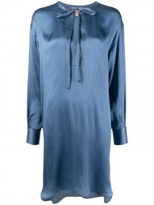 Атласное платье с круглым вырезом Nude. Цвет: синий