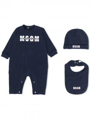 Комплект для новорожденного с логотипом MSGM Kids. Цвет: синий