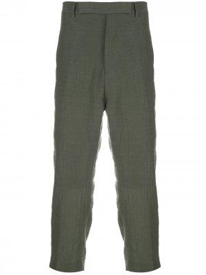 Укороченные брюки с жатым эффектом Rick Owens. Цвет: зеленый