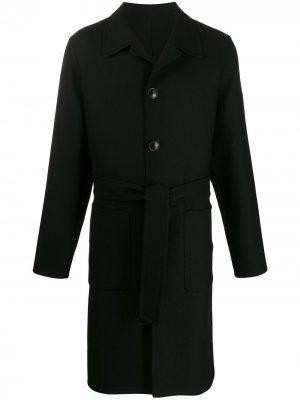 Пальто с поясом AMI Paris. Цвет: черный