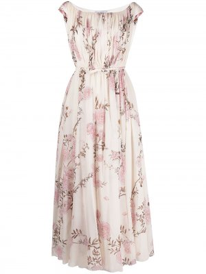 Расклешенное платье с цветочным принтом Giambattista Valli. Цвет: нейтральные цвета