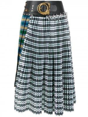 Плиссированная юбка с контрастными вставками Chopova Lowena. Цвет: зеленый