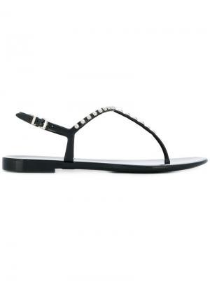 Декорированные сандалии с Т-образным ремешком Sergio Rossi. Цвет: черный