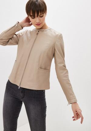 Куртка кожаная Emporio Armani. Цвет: бежевый