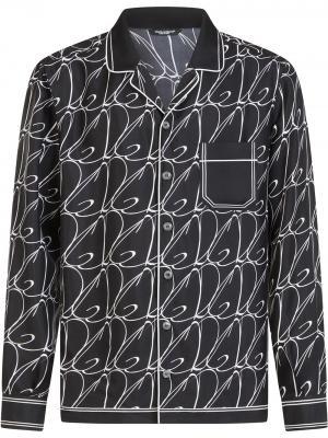 Пижамная рубашка с логотипом Dolce & Gabbana. Цвет: черный