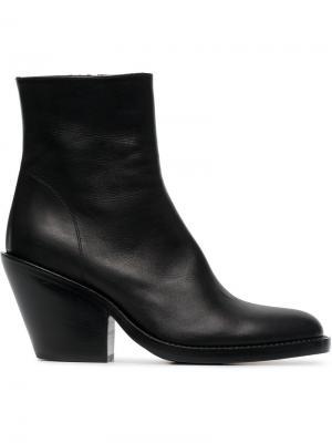 80 Leather Ankle Boots Ann Demeulemeester. Цвет: черный