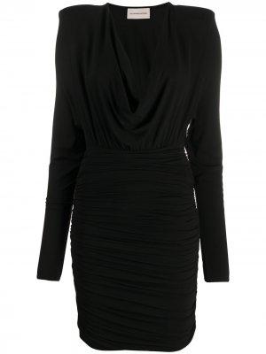 Короткое платье из джерси с V-образным вырезом Alexandre Vauthier. Цвет: черный