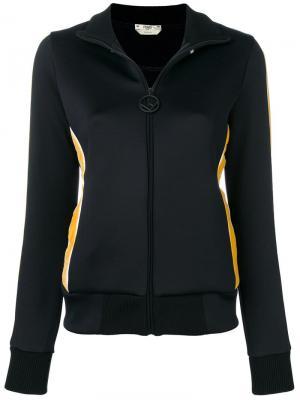 Пиджак с вышитым логотипом Fendi. Цвет: черный