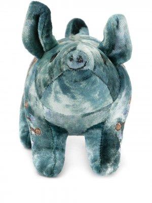 Мягкая игрушка в виде свиньи с вышивкой Anke Drechsel. Цвет: синий