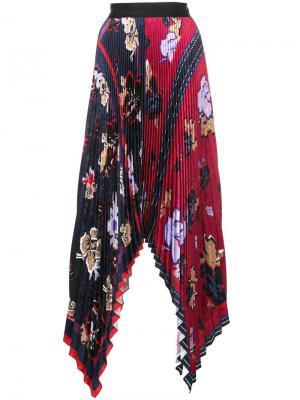 Плиссированная юбка с цветочным принтом Yigal Azrouel. Цвет: разноцветный