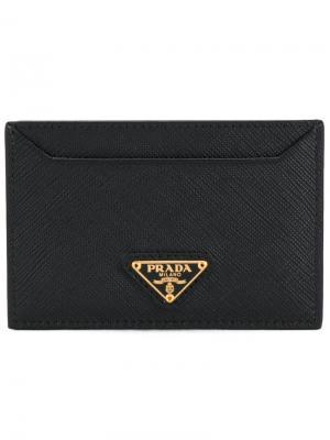Кредитница с бляшкой логотипом Prada. Цвет: чёрный