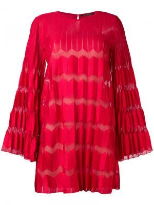 Плиссированное платье шифт Antonino Valenti. Цвет: красный