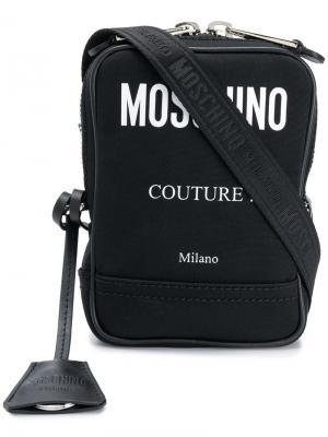 Сумка на плечо с контрастным логотипом Moschino. Цвет: черный