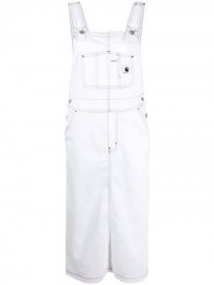 Джинсовое платье-комбинезон Bib длины миди Carhartt WIP. Цвет: белый