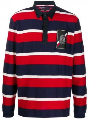 Рубашка-поло в полоску Tommy Hilfiger. Цвет: красный