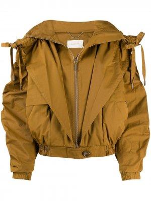 Укороченная куртка на молнии со сборками Zimmermann. Цвет: коричневый