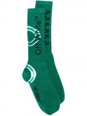 Носки с логотипом и принтом тай-дай Off-White. Цвет: зеленый