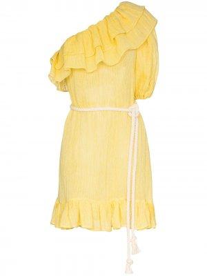 Платье мини Arden на одно плечо с оборками Lisa Marie Fernandez. Цвет: желтый