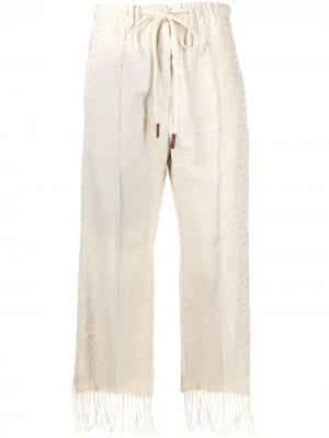 Укороченные брюки с леопардовым принтом Alysi. Цвет: нейтральные цвета