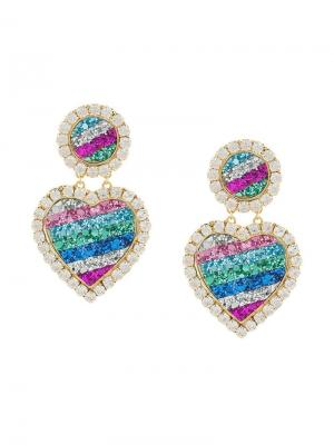 Love heart drop earrings Shourouk. Цвет: разноцветный