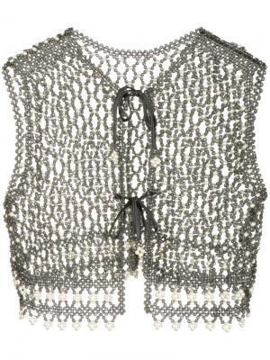 Плетенное болеро William Vintage. Цвет: серый