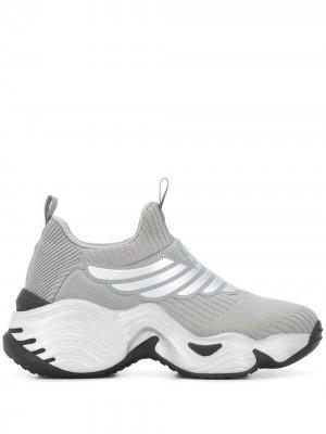 Кроссовки-носки с логотипом Emporio Armani. Цвет: серый