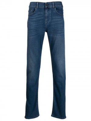 Зауженные брюки Slimmy 7 For All Mankind. Цвет: синий