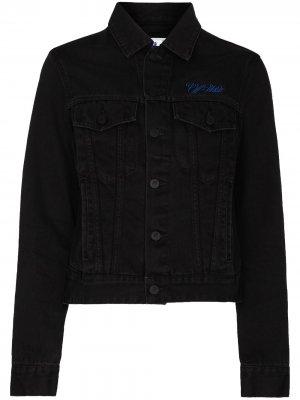 Джинсовая куртка с вышитым логотипом Off-White. Цвет: черный