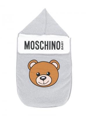 Спальный мешок с принтом медведя Moschino Kids. Цвет: серый