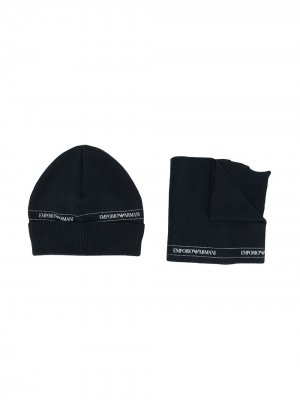 Комплект из шапки и шарфа с логотипом Emporio Armani Kids. Цвет: синий
