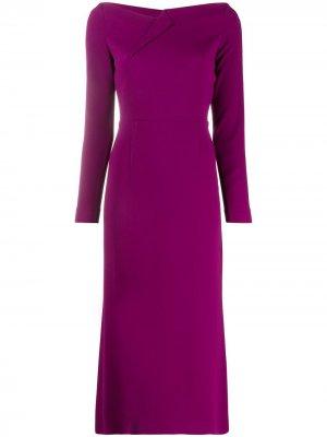 Приталенное платье с вырезом-лодочкой Roland Mouret. Цвет: фиолетовый
