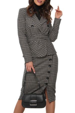Костюм: пиджак, юбка, пояс AVEMOD. Цвет: хаки