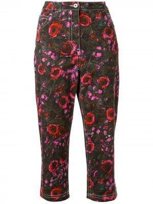 Укороченные джинсы с цветочным принтом Marni. Цвет: зеленый
