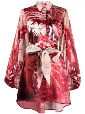 Платье-рубашка с цветочным принтом F.R.S For Restless Sleepers. Цвет: красный