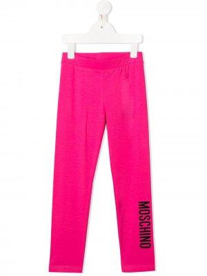 Легинсы с логотипом Moschino Kids. Цвет: розовый